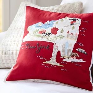 """Pottery barn New York embroidered pillow cover 18"""""""